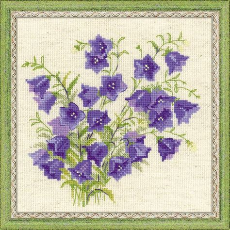 cross stitch kits riolis counted cross stitch kit bellflower flowers embroidery needlework craft ebay