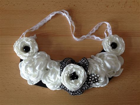 how to make flower jewelry diy how to make a fabric flower bib necklace
