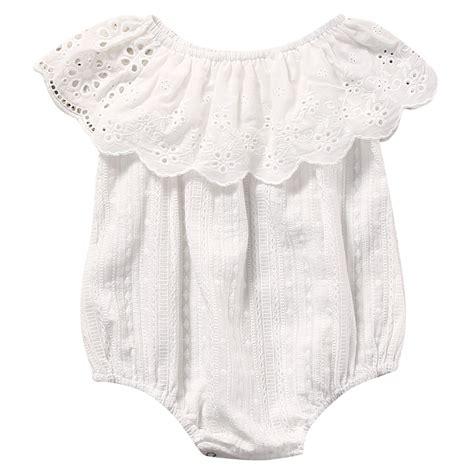 Newborn Infant Baby Lace Romper Bodysuit Jumpsuit Sunsui summer 2017 newborn toddler baby white lace romper jumpsuit infant clothes sunsuit