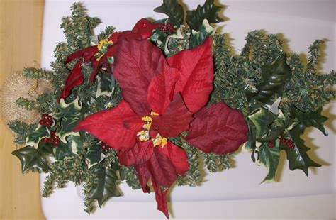 small artificial christmas poinsettia tree decorated 19