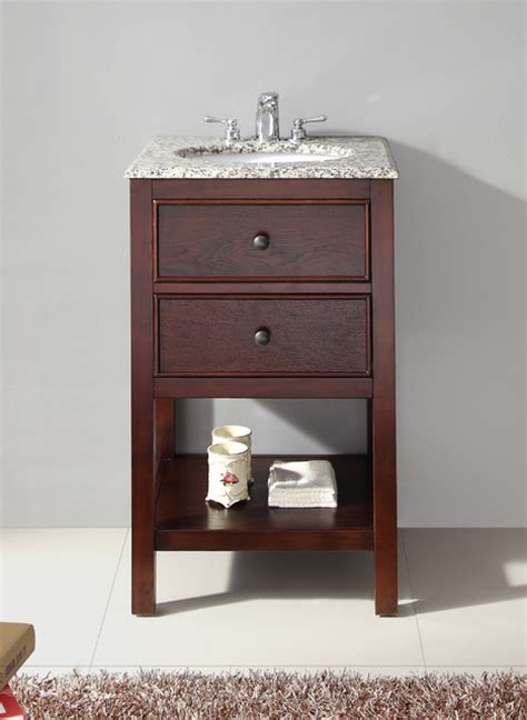 20 In Bathroom Vanity New Walnut Brown 20 Inch Bath Vanity And Dapple Grey Granite Top Contemporary Bathroom
