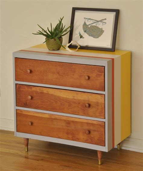 mid century 3 drawer dresser striped mid century 3 drawer dresser trevi vintage design