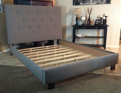 bed frame full queen or full size headboard and bed frame gray linen upholstered by lilykayy on etsy