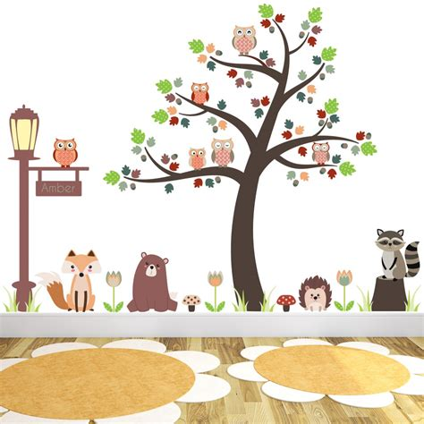 Large Childrens Wall Stickers new large woodland animal nursery wall stickers featuring