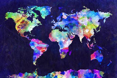 world map urban watercolor digital art  michael tompsett