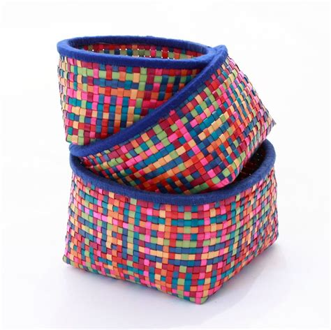 colored baskets multi colored palm leaf baskets home decor inspiration