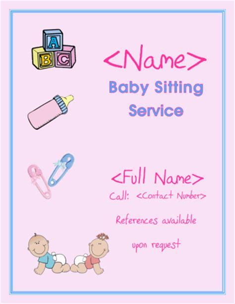 babysitting business cards templates free printable babysitting flyer template doliquid
