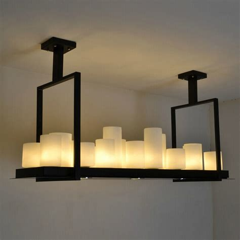 Modern Candle Chandelier European Style Rectangle Modern Candle Decorative Modern Chandelier Iron White Glass Candle