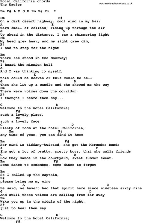 printable lyrics hotel california song lyrics with guitar chords for hotel california