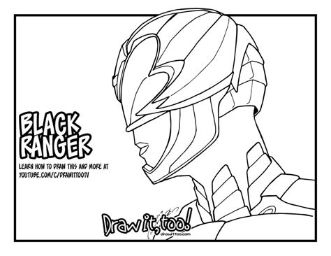 new power rangers coloring pages black ranger power rangers 2017 movie tutorial draw