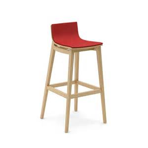 Emma wooden bar stool with upholstered seat and back cushion front