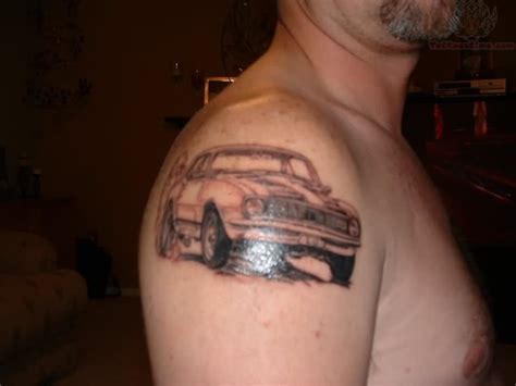 car chevy tattoo on men right shoulder