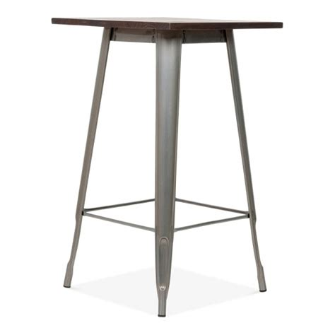 Xavier Pauchard Bar Table Tolix Style Metal Bar Table With Wood Top Gunmetal 102cm Cult Uk