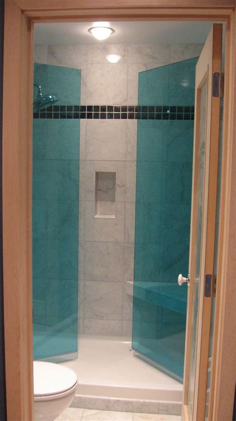 doors that swing both ways harbor bathroom project frameless blue glass shower doors