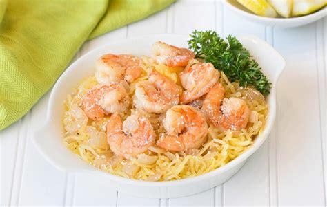 healthy spaghetti squash shrimp sci recipe hungry girl