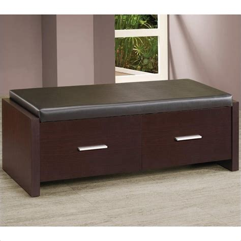 bedroom seat storage coaster 2 drawer storage bench w padded seat cappuccino