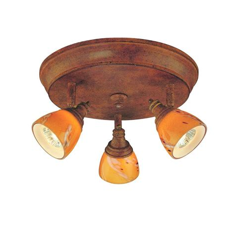 Glass Ceiling Light Shades Hton Bay 3 Light Walnut Ceiling Track Lighting Fixture With Glass Shades Ec4882wal The
