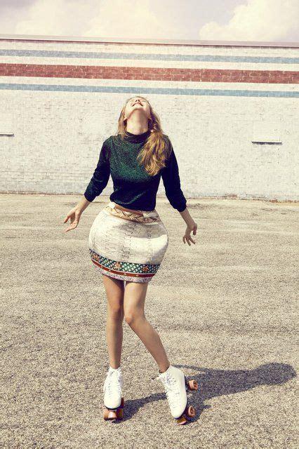 happy retro colors roller skating girl editorial fashion