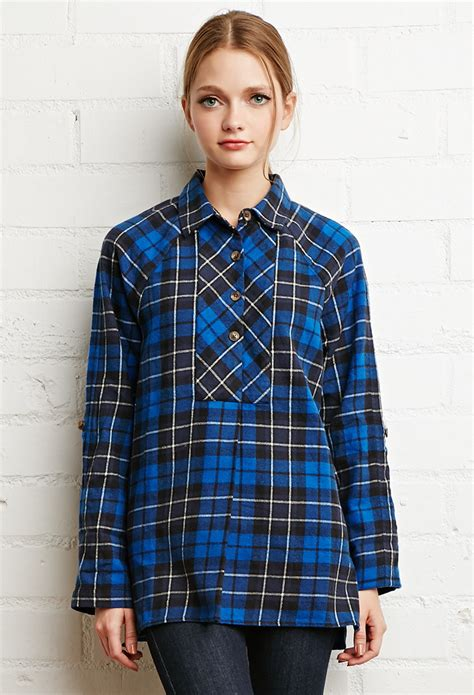Oversized Flannel forever 21 oversized plaid flannel top in black blue black lyst