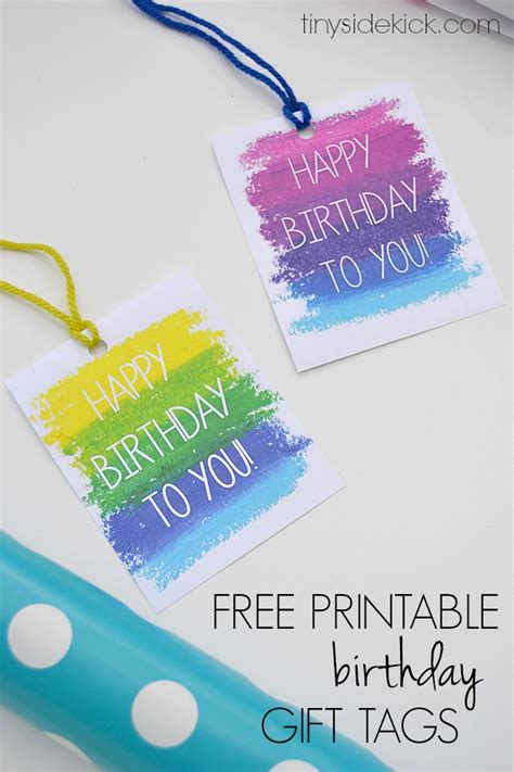 Printable Birthday Gift Tags Cards - free printable birthday gift tags