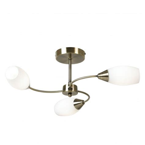 Contemporary Semi Flush Ceiling Lights Thlc Modern Antique Brass 3 Way Semi Flush Ceiling Light Thlc From The Home Lighting Centre Uk