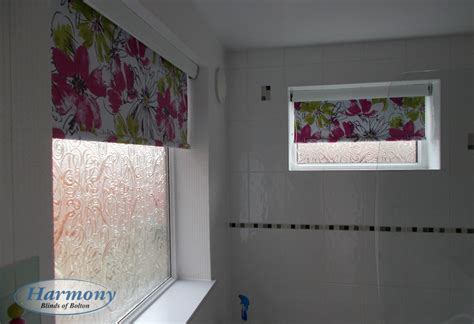 waterproof roller blind for bathroom floral waterproof roller blinds in a bathroom harmony blinds of bolton and chorley