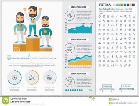 sports flat design infographic template stock vector