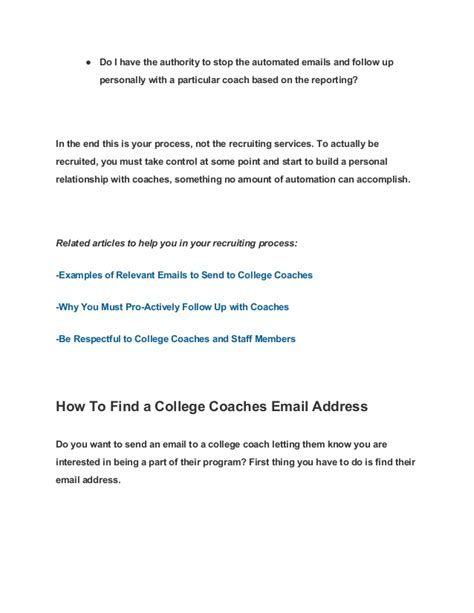 College Coach Follow Up Letter 10 Helpful Articles When Writing Emails To College Coaches