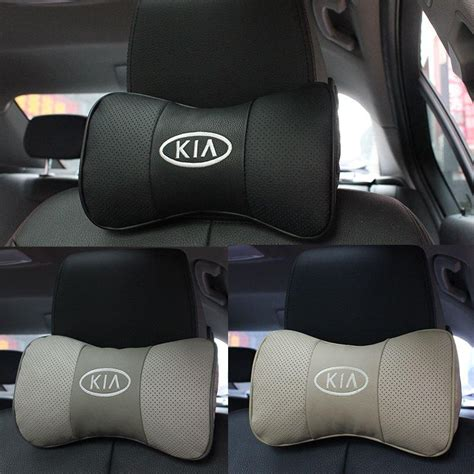 pillow car 2 x genuine leather headrest neck pillow car auto seat