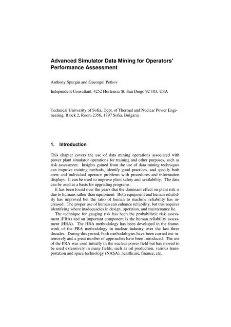 (PDF) Advanced Simulator Data Mining for Operators
