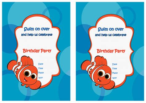 printable nemo birthday invitations finding nemo birthday invitations birthday printable