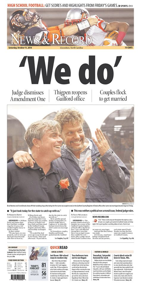 Greensboro Nc Marriage License Records Gallery Marriage Ruling Makes N C Papers Front Pages In Big Ways Qnotes