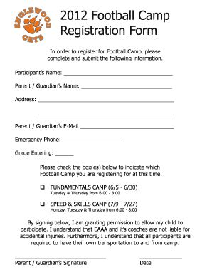 football registration form template football register sle form fill printable