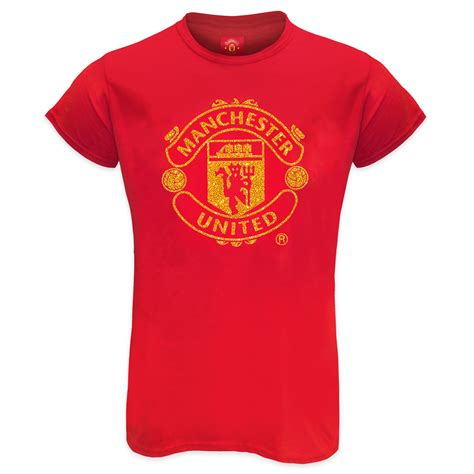 T Shirt Mu Utd manchester united fc official football gift glitter