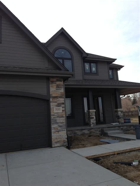 Grey House With Black Trim modern house exterior sherwin williams gauntlet gray and
