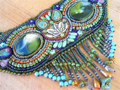 indian bead embroidery owl totem seed bead embroidered necklace with micro