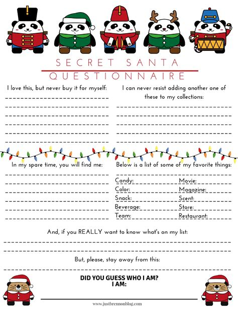 Free Download Secret Santa Questionnaire Just Brennon | free download secret santa questionnaire just brennon