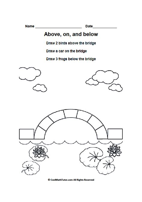 Preschool Positional Words Worksheets by Above On And Below Worksheets Positional Words