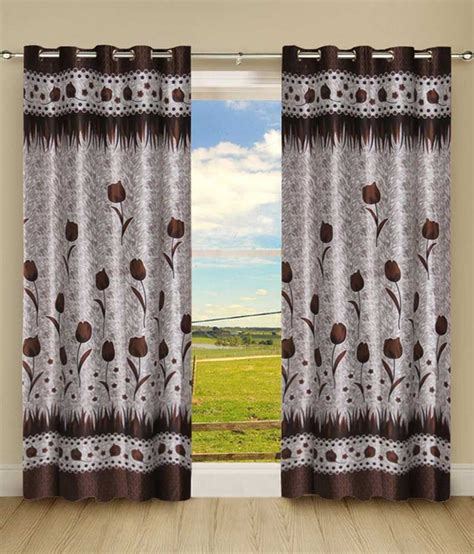 Gray And Brown Curtains Kanha Grey And Brown Polyester Eyelet Curtains Buy Kanha Grey And Brown Polyester Eyelet