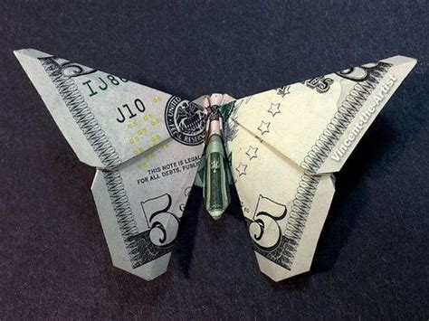 Dollar Bill Origami Butterfly Step By Step - dollar bill origami butterfly made with 5 bill money
