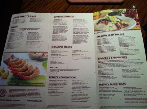 outback steak house menu image gallery outback steakhouse allergy menu