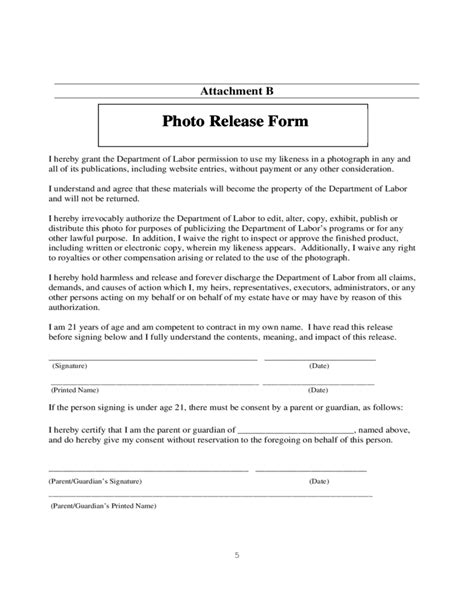 release forms photo release form format free