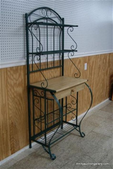 Oak Bakers Rack Bent Iron Oak Baker S Rack W Drawer