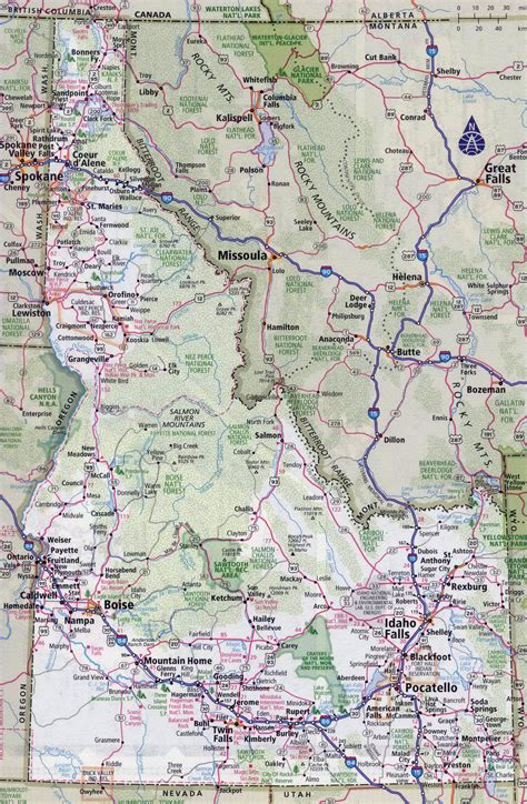 idaho map with cities large detailed roads and highways map of idaho state with