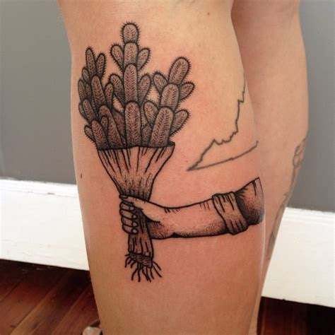 cactus present tattoo by j fleming pairodicetattoos com
