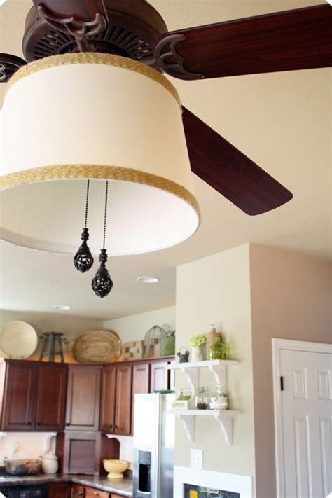 adding a drum shade to a ceiling fan from thrifty decor