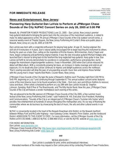 concert press release template press release dan lavoie to play jpmorgan njpac