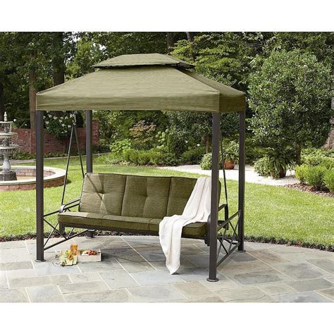 outdoor swing details about gazebo outdoor 3 person swing lawn garden