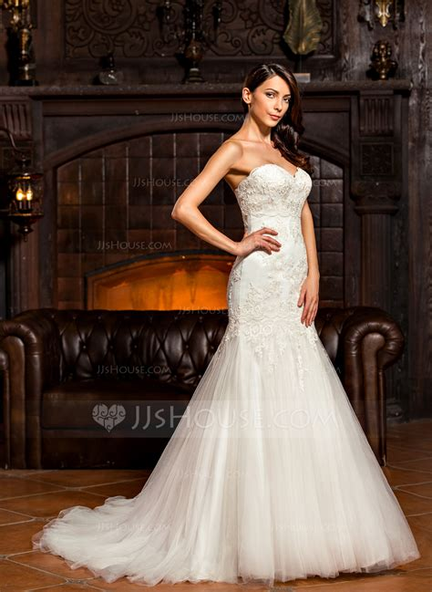 trumpet mermaid sweetheart sweep train tulle wedding