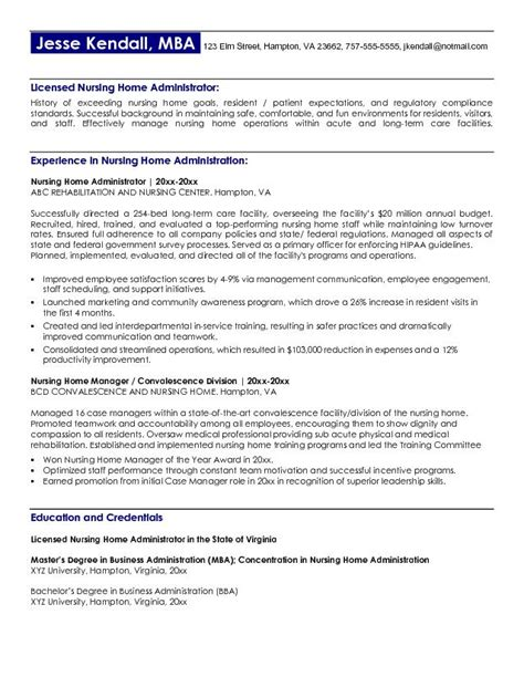 Resume Exles For Nursing Home Administrator Exle Nursing Home Administrator Resume Free Sle